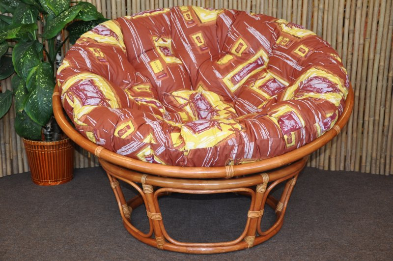 Ratanový papasan 110 cm Cognac, polstr hnědý list