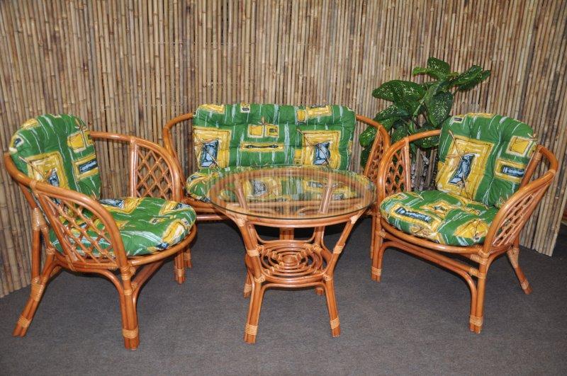 Ratanová sedací souprava Cayman velká cognac zelená