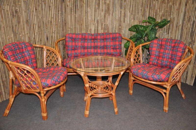Ratanová sedací souprava Cayman velká cognac červená