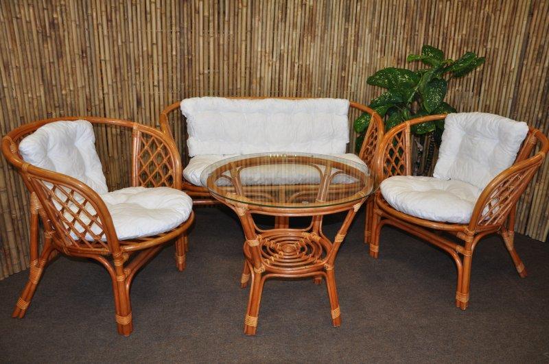 Ratanová sedací souprava Cayman velká cognac bílá