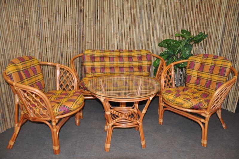 Ratanová sedací souprava Cayman velká cognac okrová