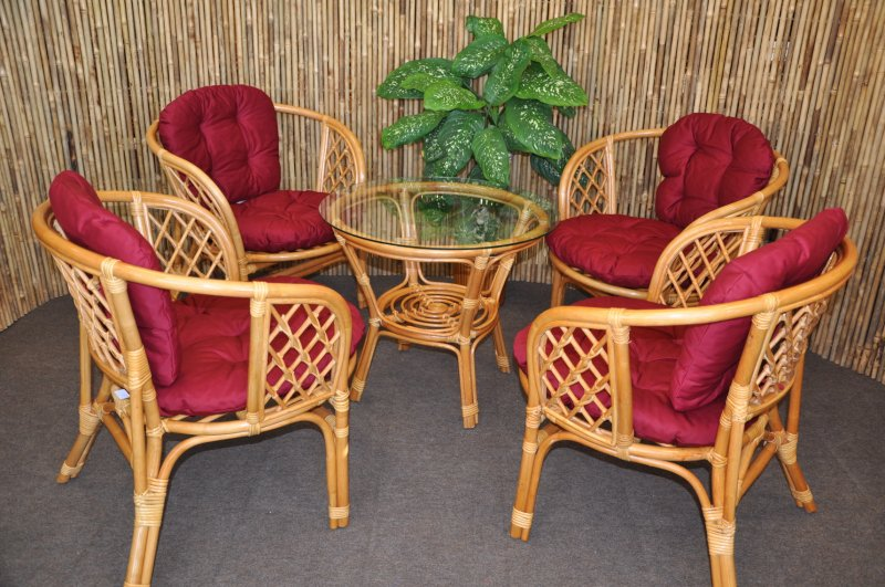 Ratanová sedací souprava Cayman 4+1 medová, polstr vínový