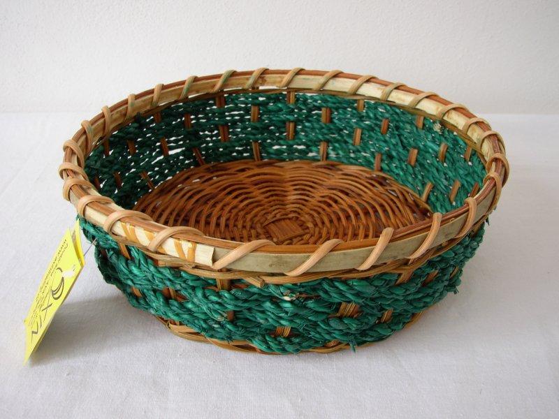 Proutěná miska kulatá zelená