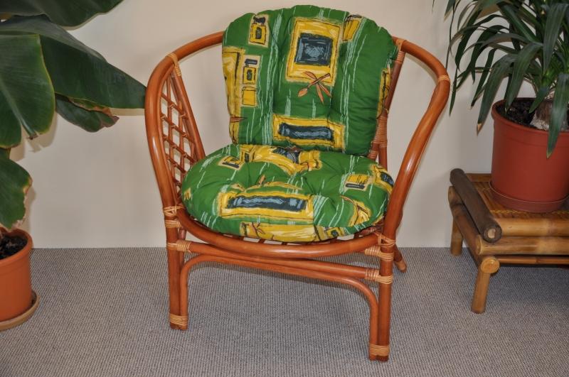 Ratanové křeslo Bahama barva koňak polstr zelený
