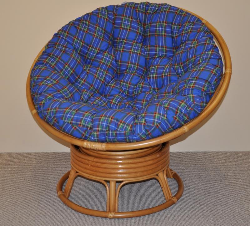 Ratanový papasan houpací medový polstr modrý