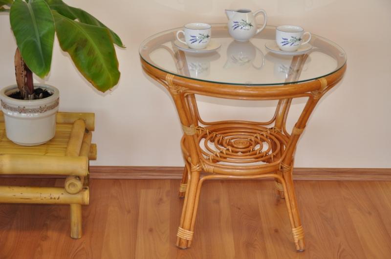 Ratanový stolek Bahama medový se sklem
