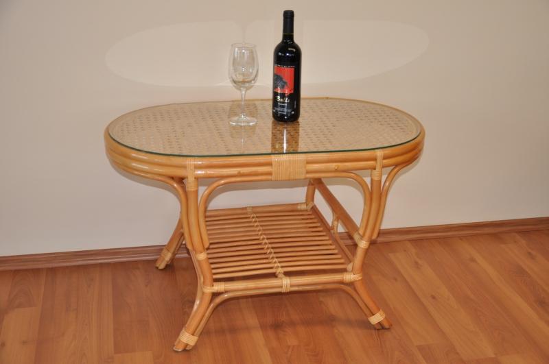 Ratanový stolek Guo oválný medový
