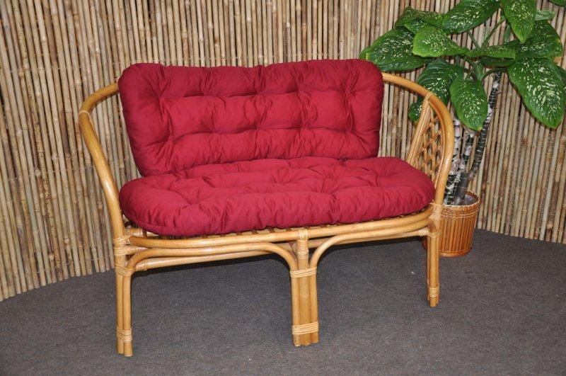 Ratanová lavice Cayman medová polstr vínový
