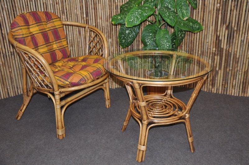 Ratanová sedací souprava Bahama 1+1 brown wash polstr okrový