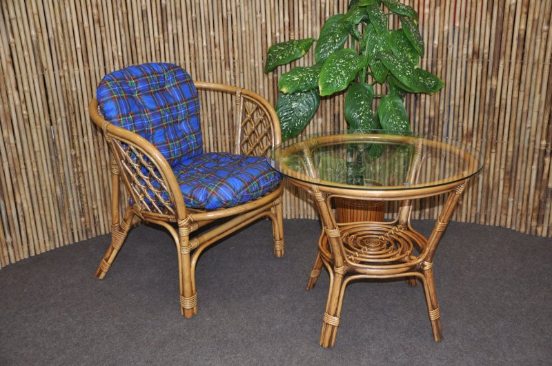 Ratanová sedací souprava Bahama 1+1 brown wash polstr modrý