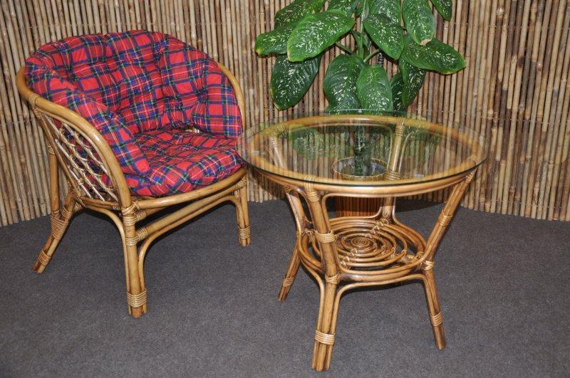 Ratanová sedací souprava Bahama 1+1 brown wash polstr červený MAXI