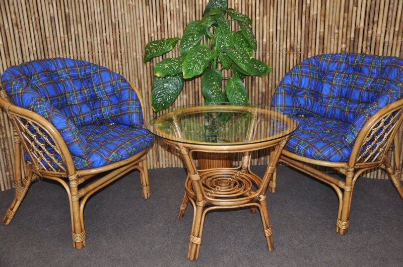 Ratanová sedací souprava  Cayman 2+1 brown wash polstr modrý MAXI