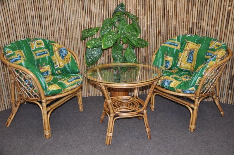 Ratanová sedací souprava Cayman 2+1 brown wash polsr zelený MAXI