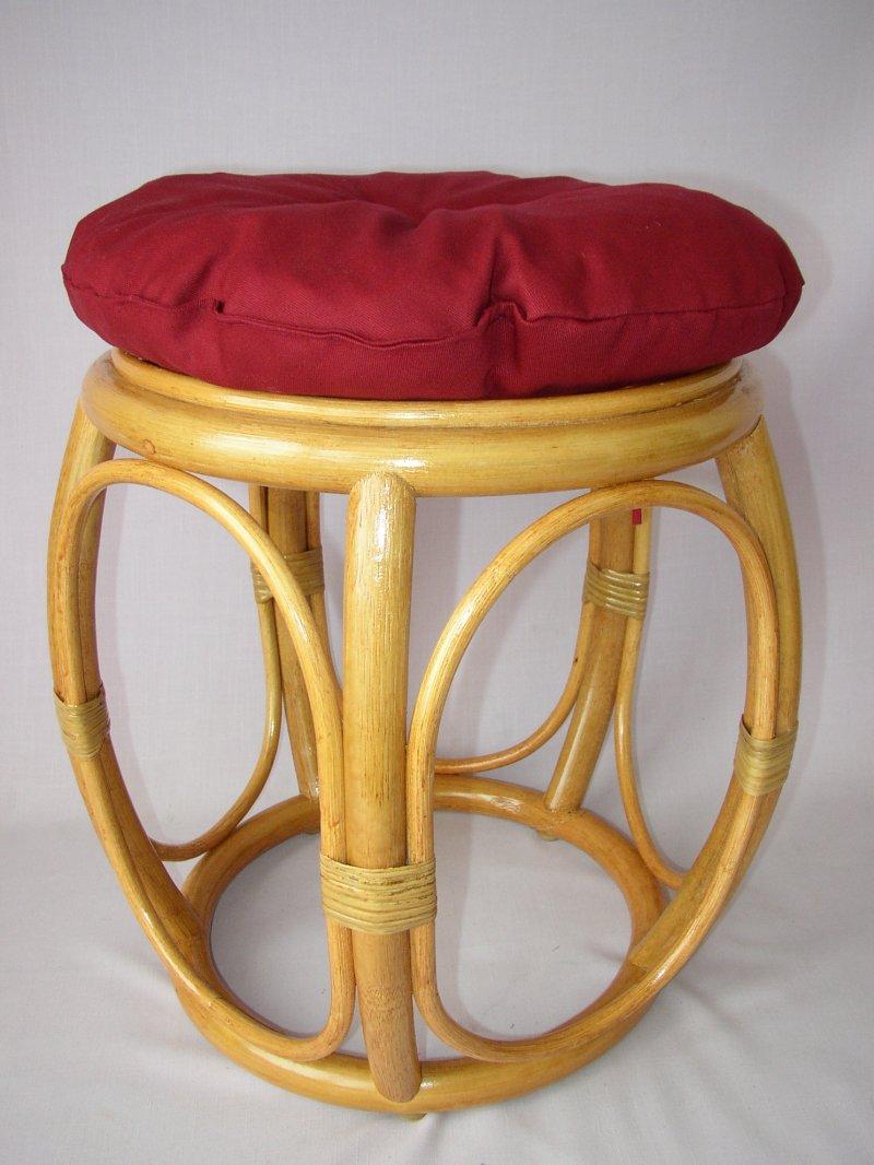 Ratanová taburetka široká medová polstr vínový