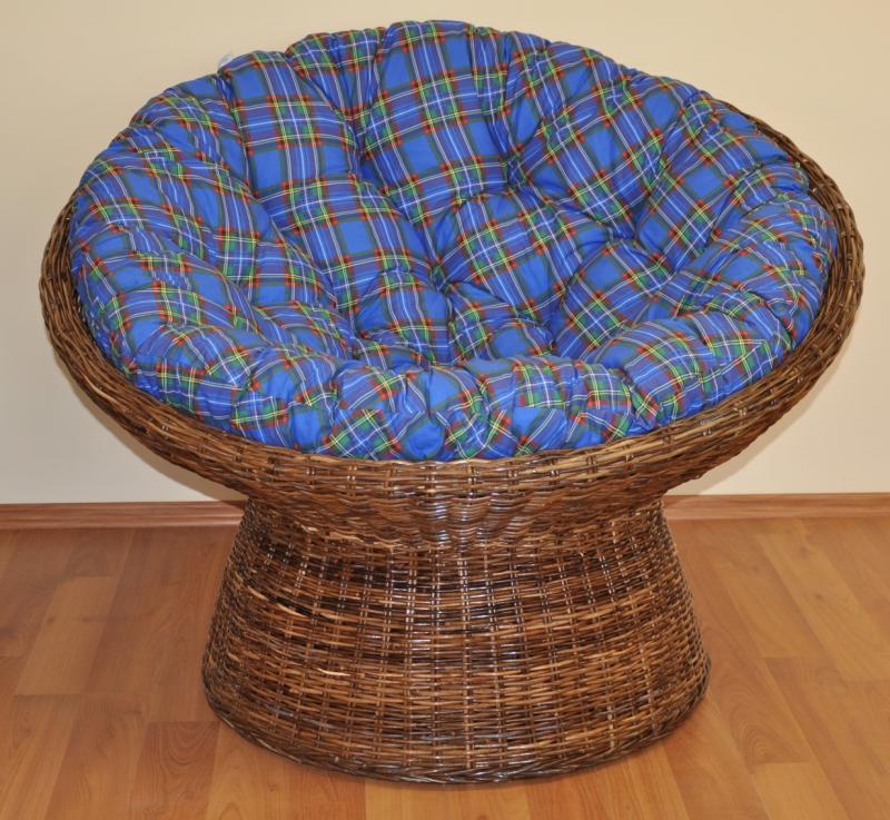 Ratanový papasan Coco polstr modrý