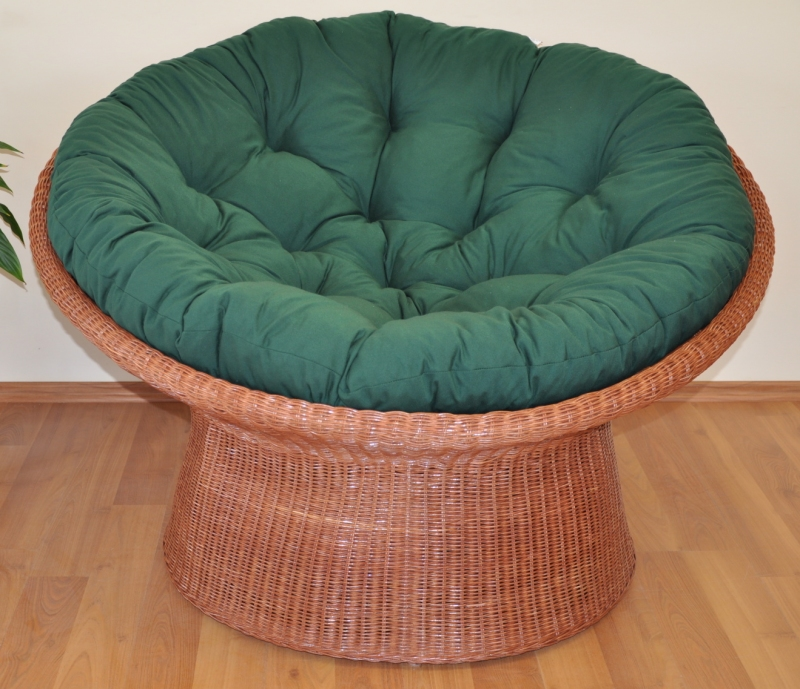 Ratanový papasan wicker koňak polstr zelený dralon