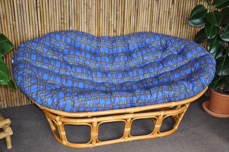 Ratanový papasan double medový polstr modrý