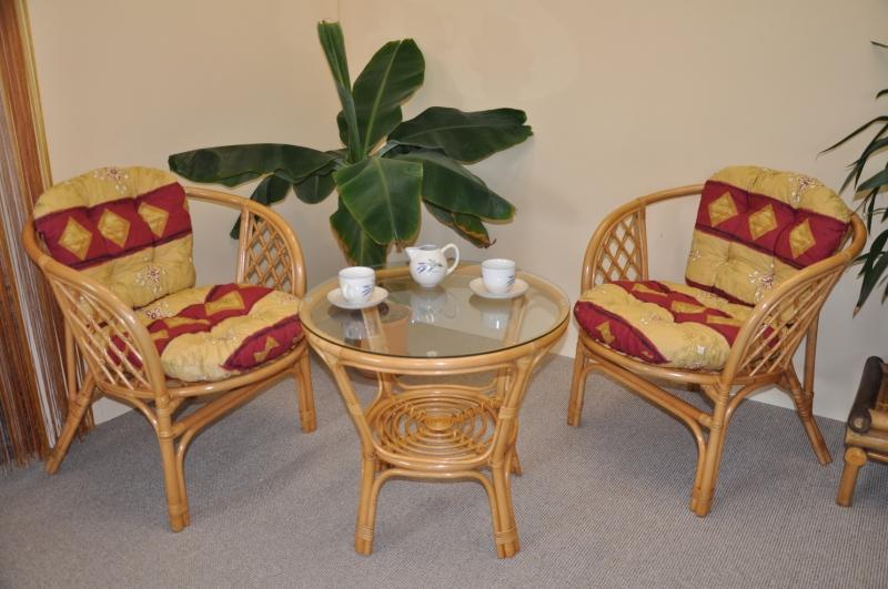 Ratanová sedací souprava Cayman medová malá polstry vínový motiv