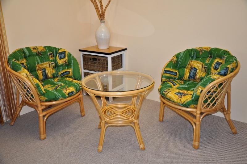 Ratanová sedací souprava Cayman malá medová polstr MAXI zelený