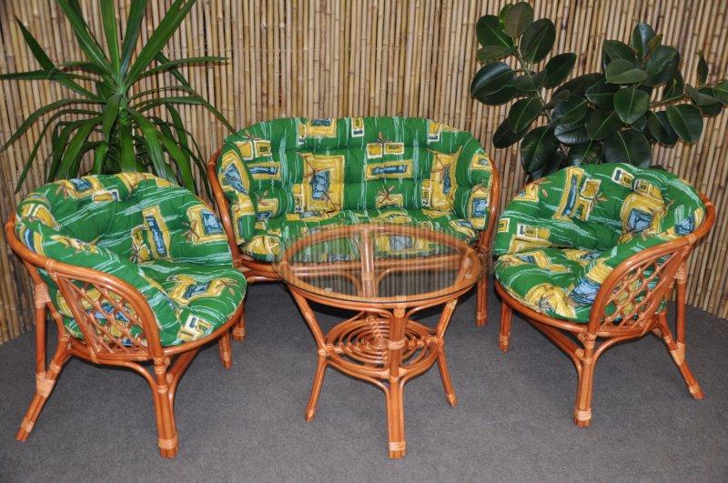 Ratanová sedací souprava Cayman velká cognac zelená MAXI