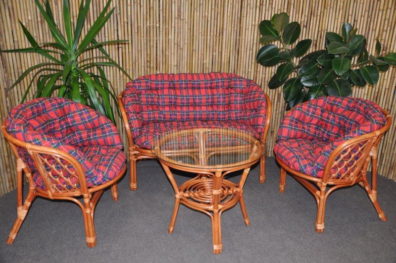 Ratanová sedací souprava Cayman velká cognac červená MAXI