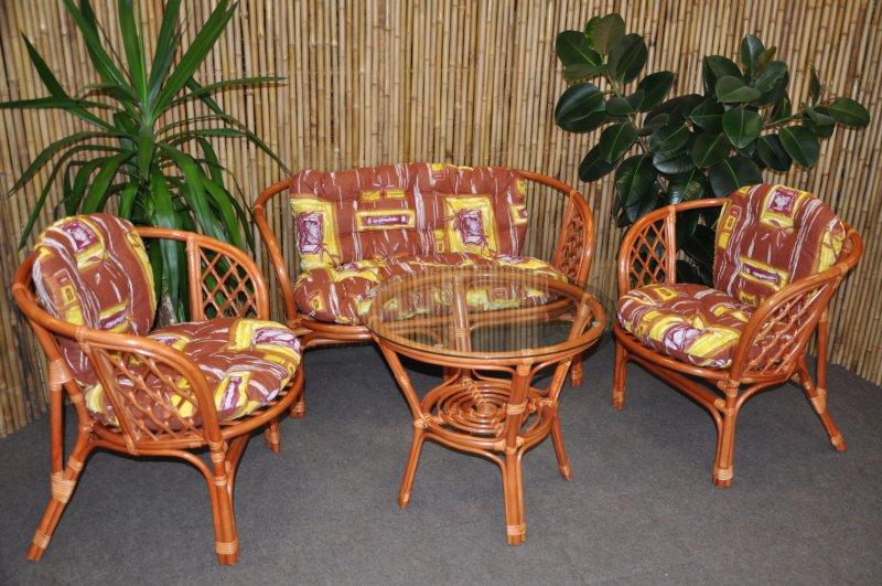 Ratanová sedací souprava Bahama velká cognac hnědý list