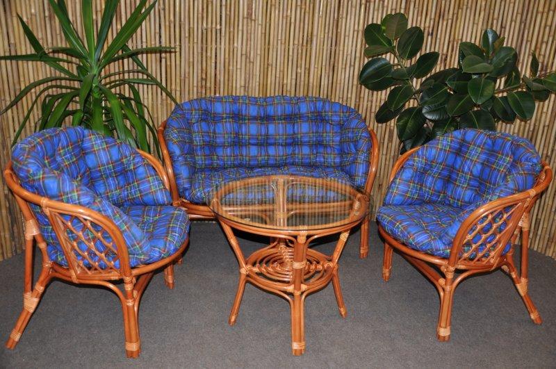Ratanová sedací souprava Cayman velká cognac modrá MAXI