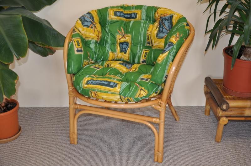 Ratanové křeslo Cayman medové polstr MAXI zelený