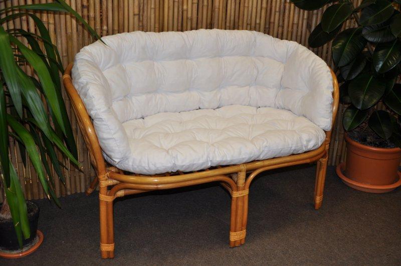 Ratanová lavice Cayman medová polstr bílý MAXI