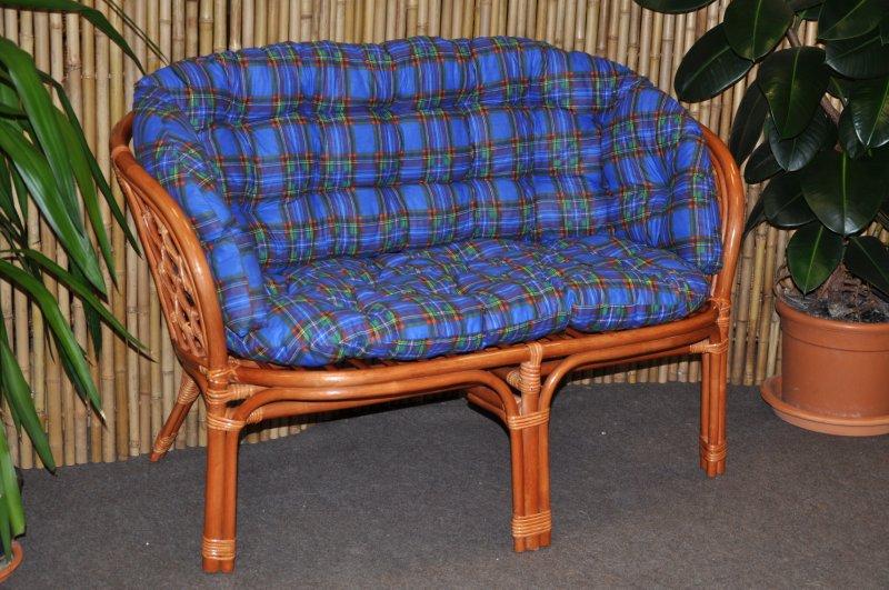 Ratanová lavice Cayman koňak polstr modrý MAXI