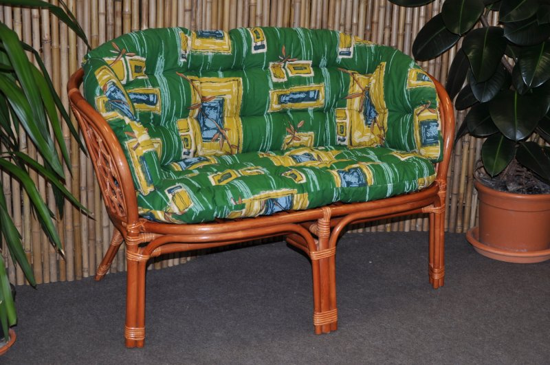 Ratanová lavice Cayman koňak polstr zelený MAXI