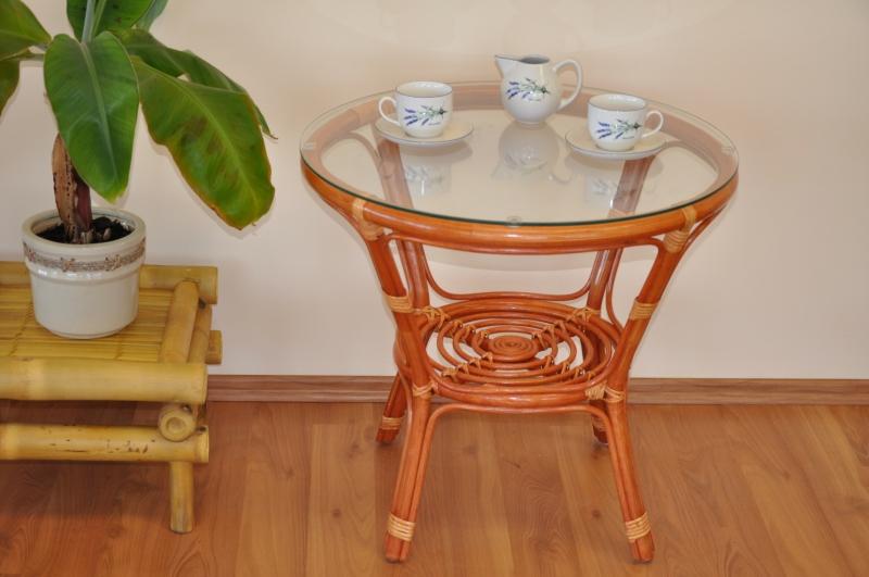 Ratanový stolek Cayman koňak se sklem