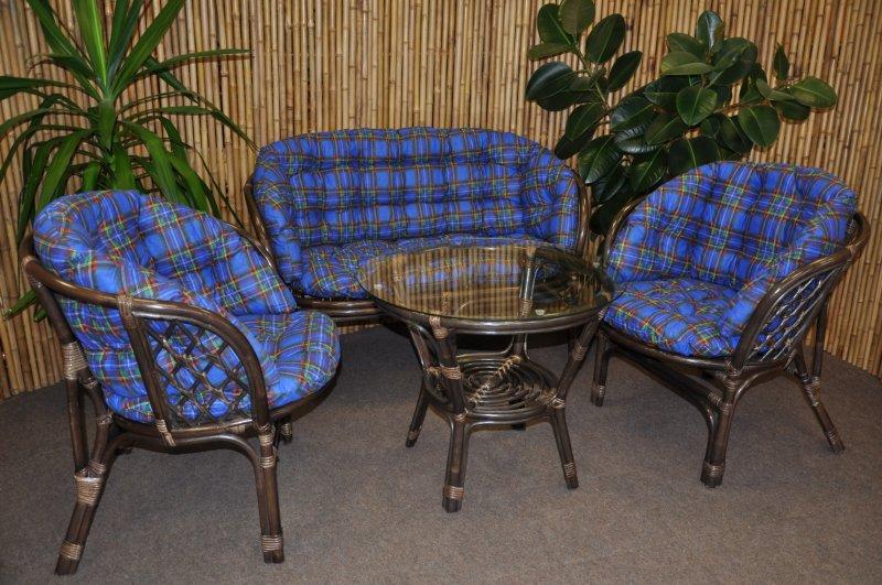 Ratanová sedací souprava Cayman velká hnědá, polstr MAXI modrý