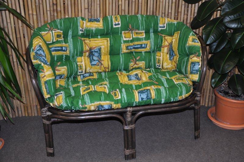 Ratanová lavice Cayman hnědá zelený polstr MAXI