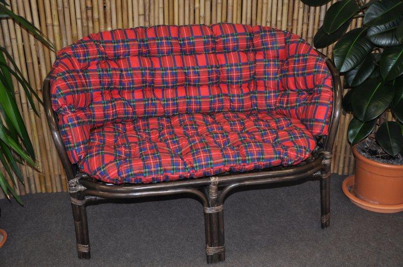 Ratanová lavice Cayman hnědá  polstr červený MAXI