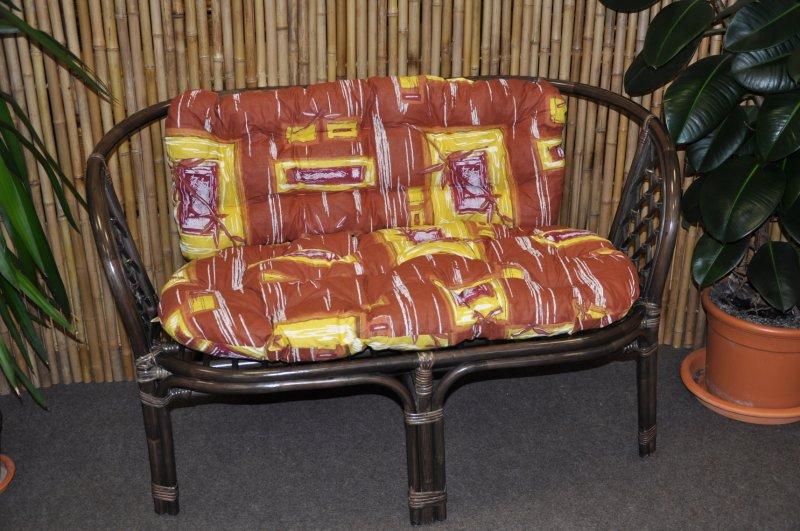 Ratanová lavice Cayman hnědá polstr hnědý list