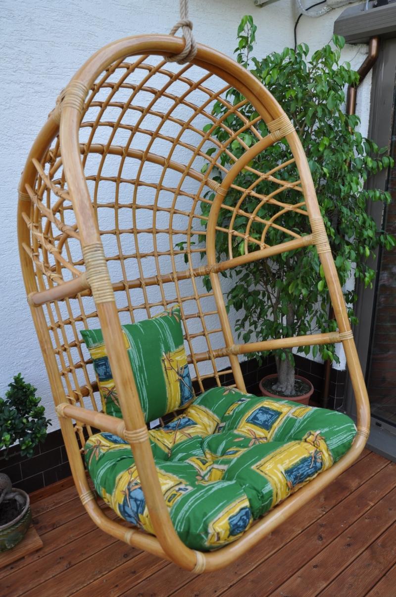 Houpačka ratanová závěsná medová XL polstr zelený