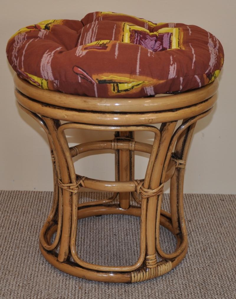 Ratanová taburetka brown wash polstr hnědý list