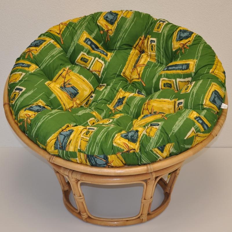 Ratanový papasan 110 cm medový polstr zelený