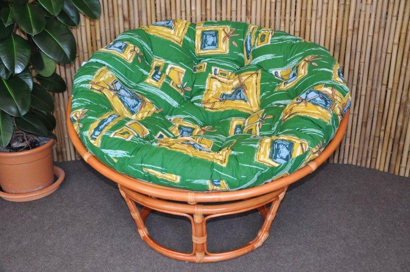 Ratanový papasan 110 cm koňak, polstr zelený