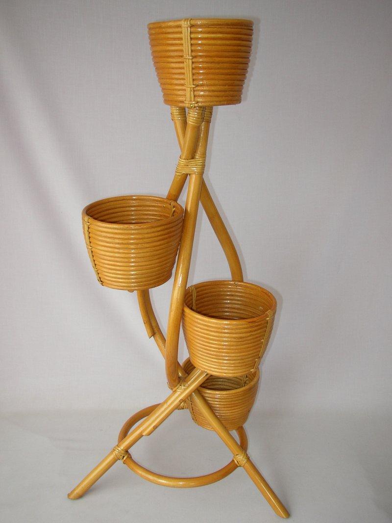 Ratanový stojánek na 4 květiny medový