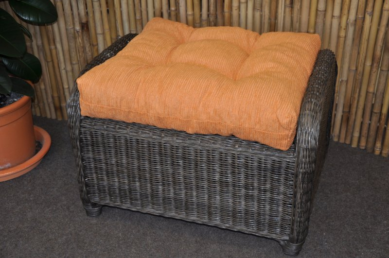 Ratanová taburetka Telinga hnědá, polstr oranžový