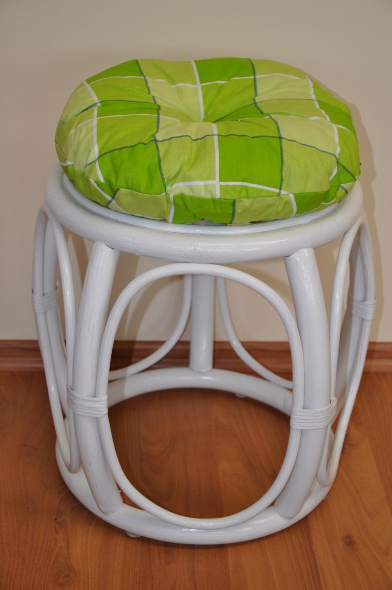 Polstr na ratanovou taburetku zelená kostka