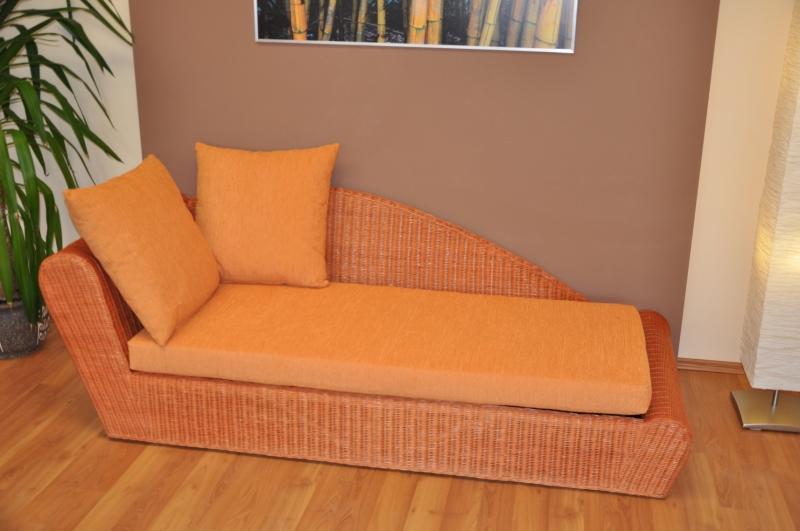 Ratanová odpočinková pohovka koňak pravá  polstr oranžový