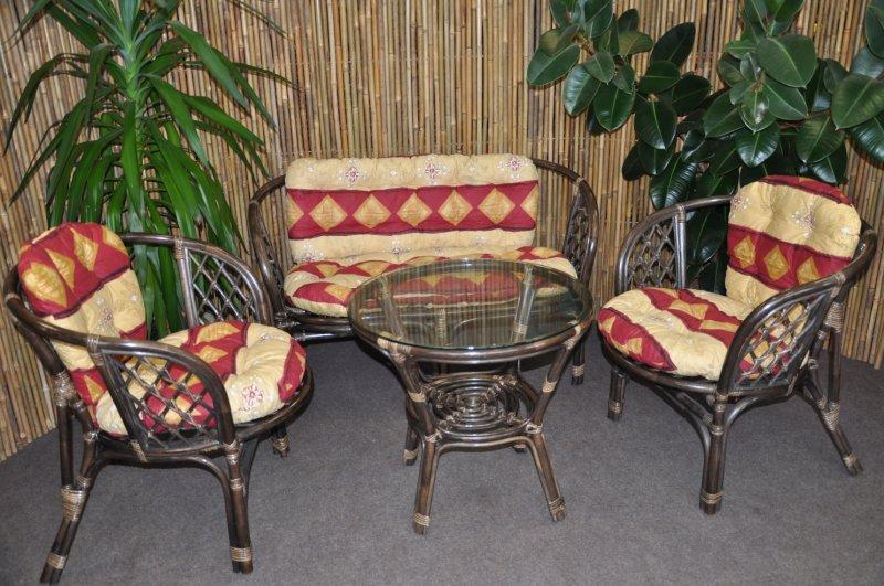 Ratanová sedací souprava Cayman velká hnědá, polstr vínový motiv