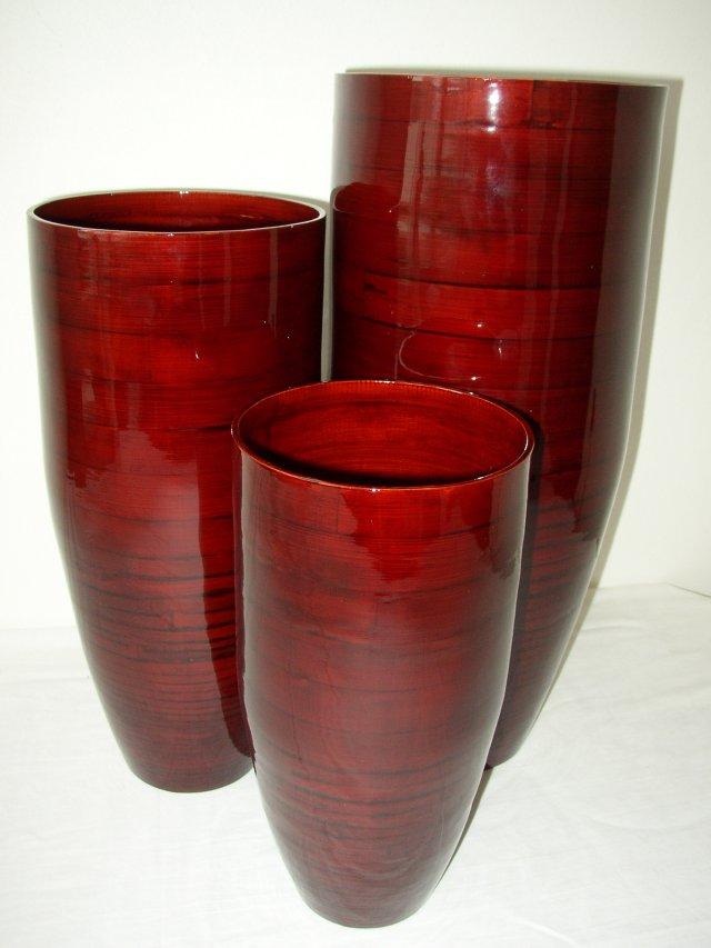 Bambusová váza klasik červená L