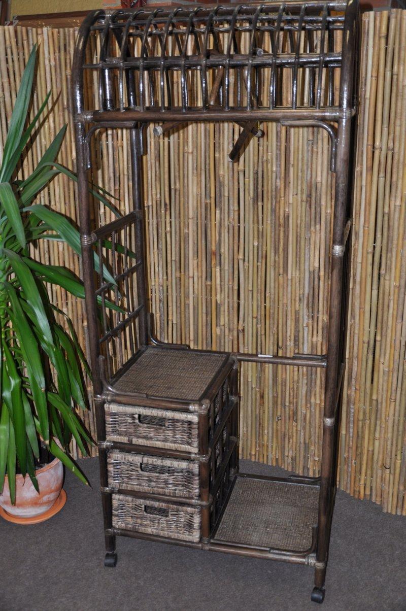 Ratanová stěna 3 zásuvky hnědá