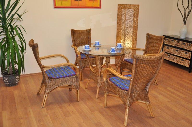 Ratanová jídelní souprava Phuket brown wash polstr modrý