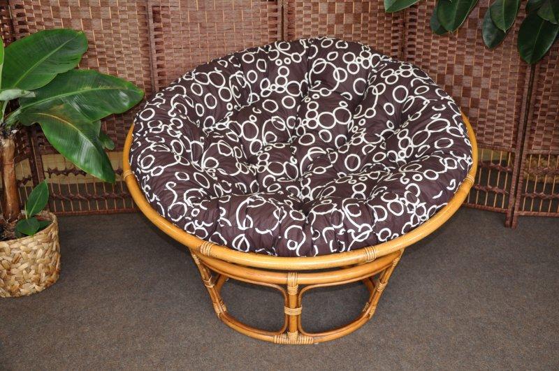 Ratanový papasan brown wash 110 cm polstr bubliny
