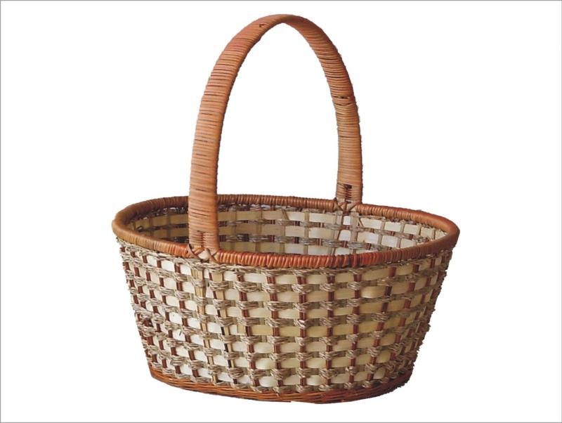 Košík kapradina/bambus s uchem XXXL